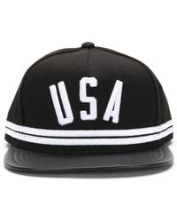 81e8ad9b Stampd Black Leather Padded Hat in Black for Men - Lyst