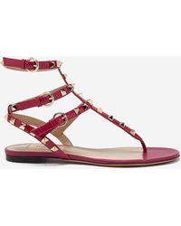 Valentino - 17ss Women's Shoes Rockstud Thong Deep Cyclamin - Lyst