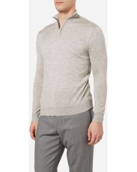 N.Peal Cashmere - The Regent Fine Gauge Half Zip Sweater - Lyst