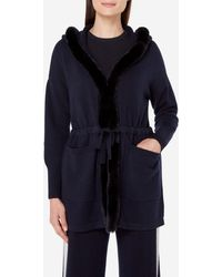 N.Peal Cashmere - Fur Trim Hooded Cardigan - Lyst