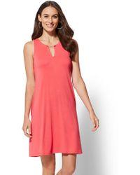 New York & Company - Hardware-accent Split-neck Swing Dress - Lyst