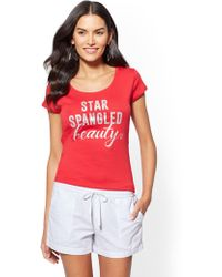 "New York & Company - Sparkling ""star-spangled Beauty"" Graphic Logo Tee - Lyst"