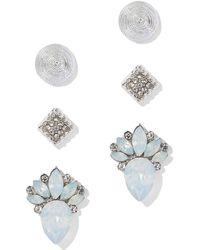 New York & Company - 3-piece Silvertone Post Earring Set - Lyst