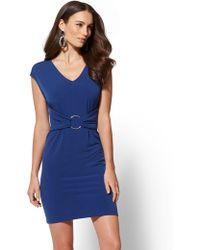 New York & Company - Hardware-accent V-neck Dress - Lyst
