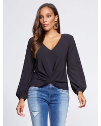 New York & Company - Gabrielle Union Collection - Black V-neck Blouse - Lyst
