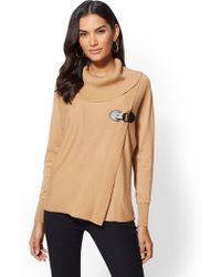 New York & Company - Buckle-detail Cowl-neck Sweater - Lyst
