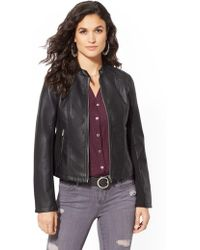 New York & Company - Knit-inset Banded Collar Moto Jacket - Lyst