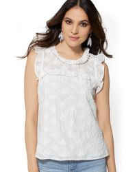 783d8b13217c7 Lyst - American Eagle Ae Lace Inset Cold Shoulder Floral Printed in ...