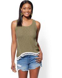 New York & Company - Tassel-trim Cotton Knit Tank Top - Lyst