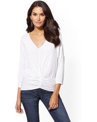 New York & Company - Soft Tee - V-neck Twist-front Top - Lyst