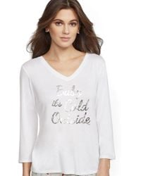 """New York & Company - White """"baby It's Cold Outside"""" Pajama Top - Lyst"""