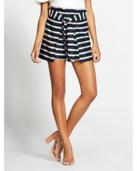 New York & Company - Gabrielle Union Collection - Navy Stripe Paperbag-waist Short - Lyst
