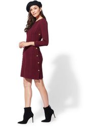 New York & Company - Button-trim Cable-knit Sweater Dress - Lyst