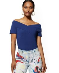 7530eae6e64 New York & Company - Crossover Off-the-shoulder Top - Lyst