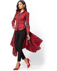 New York & Company - Red Tartan Hi-lo Handkerchief Hem Shirt - Lyst