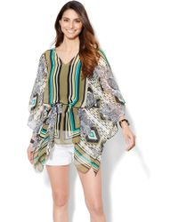 New York & Company - Belted Topper - Floral/linear Print - Lyst