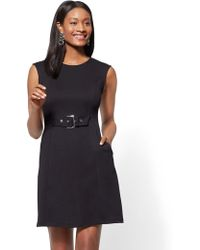New York & Company - Buckle-accent Cotton Fit And Flare Dress - Lyst