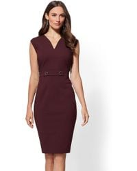 New York & Company - 7th Avenue - V-neck Sheath Dress - All-season Stretch - Lyst