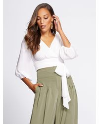 New York & Company - Gabrielle Union Collection - Crop Tie-front Blouse - Lyst