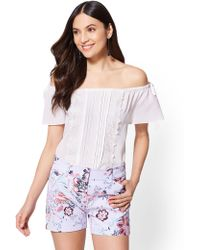 8d62bcd5d8ad0 Lyst - New York   Company Lace Off-the-shoulder Bell-sleeve Blouse ...
