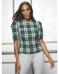 New York & Company - Eva Mendes Collection - Petite Jayda Green Plaid Blouse - Lyst