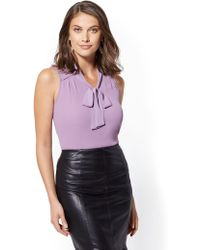 New York & Company - V-neck Bow-detail Top - Lyst