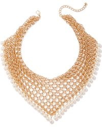 New York & Company - Goldtone Mesh & Faux-pearl Collar Necklace - Lyst