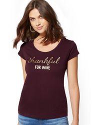 "New York & Company - Metallic ""thankful For Wine"" Graphic Logo Tee - Lyst"