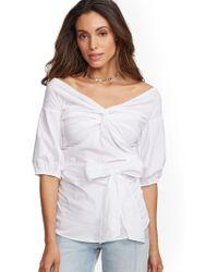 bf8d1b3e6b4d1 New York   Company - 7th Avenue - Off-the-shoulder Poplin Shirt -