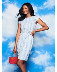 New York & Company - Blue Plaid Belted Sheath Dress - Lyst