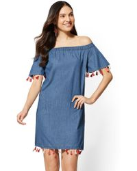 New York & Company - Tassel-accent Denim Shift Dress - Medium Blue - Lyst