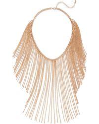 New York & Company - Goldtone Fringe Necklace - Lyst