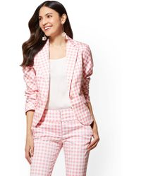 New York & Company - 7th Avenue - Pink Gingham One-button Jacket - Modern - Lyst