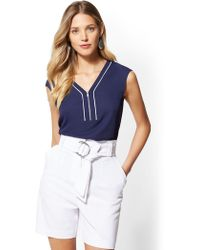 New York & Company - 7th Avenue - Piped V-neck Zip-front Blouse - Lyst