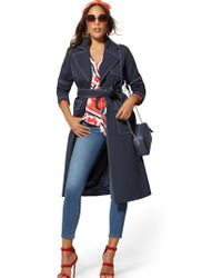 5e8194d1fe New York   Company - Navy Topstitched Trench Coat - Lyst