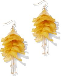 New York & Company - Goldtone Floral Drop Earring - Lyst
