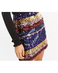 Oasis - Rainbow Sequin Mini Skirt - Lyst