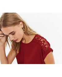 Oasis - Lace Patterned Tee - Lyst