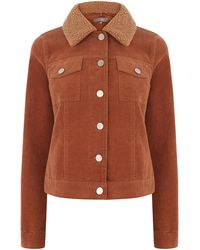 Oasis Borg Collar Cord Jacket - Brown
