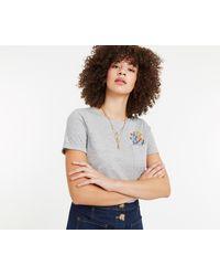 Oasis - Dark Grey Embroidered Pocket T-shirt - Lyst