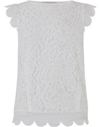 Oasis Lace Broderie Trim Top