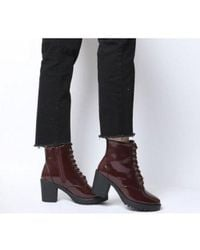 Office Absolutely- Lace Up Cleated Boot - Red