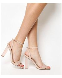 8fa489620bf4 Office Parisian Lace Up High Heel Sandals in Natural - Lyst