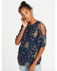 Old Navy - Relaxed Cold-shoulder Slub-knit Top - Lyst