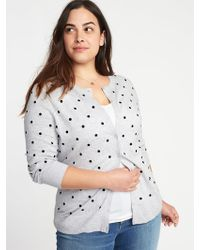 Old Navy - Embroidered Polka-dot Plus-size Cardi - Lyst