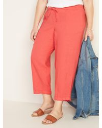 84fac06e29 Old Navy Mid-rise Plus-size Linen-blend Cropped Pants in Black - Lyst