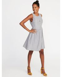Old Navy - Fit & Flare Sleeveless Dress - Lyst