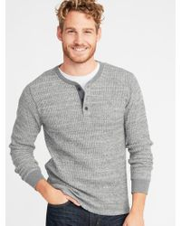 Old Navy - Chunky-textured Thermal-knit Henley - Lyst