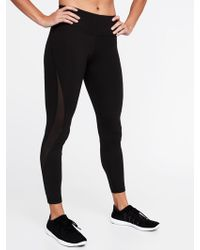 f09e1aeab83727 Old Navy Mid-rise Mesh-panel Elevate Compression Leggings in Black - Lyst