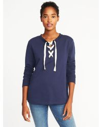 0386ba2e6b Lyst - Old Navy Relaxed Lace-up French-terry Sweatshirt in Blue